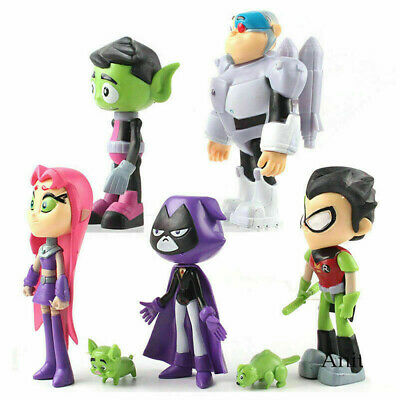 For Teen Titans Go Robin Cyborg Beast Boy Raven Starfire Action Figure Toy L3Q7V