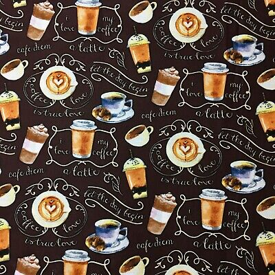 Morning Coffee Cafe Latte Sewing Quilting Cotton Fabric FQ 50x55cm