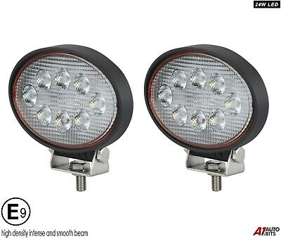Two Powerful 24w Led 5.6'' Oval Led Work Lights 12V 24v For Lorry Trailer Cab E9