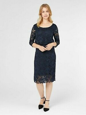 Mamalicious Nursing Breastfeeding Dress Lace 3/4 Sleeve Navy Special Occasion
