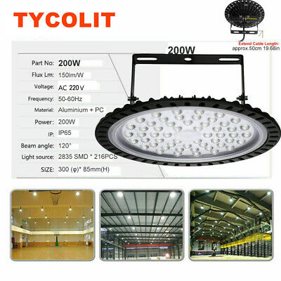 200W LED High Bay Light Factory Commercial Warehouse Gym Workshop Shop Light UK