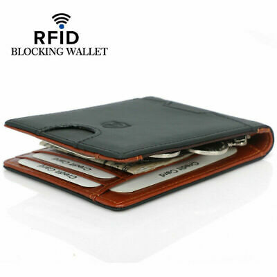 AU 100% Genuine Leather Mens Slim Wallet RFID Blocking ID Card Holder Money Clip