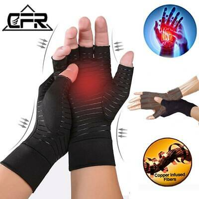 Copper Arthritis Gloves Compression Hand Support Carpal Tunnel Wrist Pain Brace