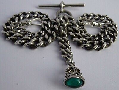 Fabulous antique solid silver double pocket watch albert chain & gem set fob