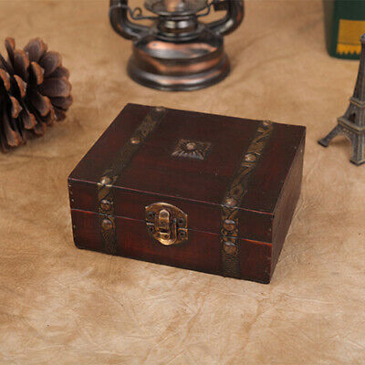 Vintage Wood Treasure Chest Wooden Jewellery Earrings Storage Box Case Organizer