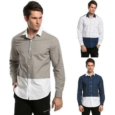 Manica lunga stampa Patchwork Casual camicia Button uomo Down OO55 01