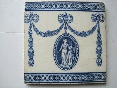"""ANTIQUE VICTORIAN 6"""" WEDGWOOD CLASSICAL TRANSFER PRINT WALL TILE c1878 - 1900"""
