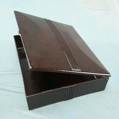 Vintage Art Deco Bakelite Hinged Box Trinket Cigarette Powder Box Dark Brown