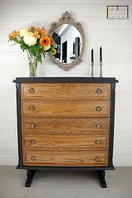 CHEST OF DRAWERS Tiger Oak 5 drawers hand painted Annie Sloan Athenian Black