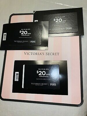 VICTORIA'S SECRET/PINK Lot of 3 Fall Rewards $20 off $50 Purchase Use Oct.22-28
