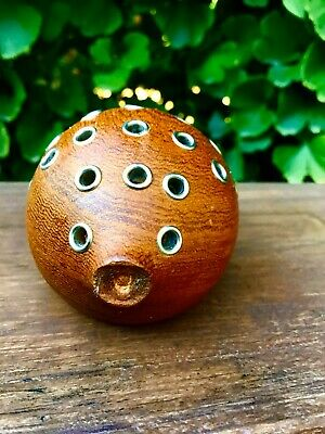 Vintage PUFF FISH Teak Wood Toothpick Holder Mid Century Modern Danish DENMARK