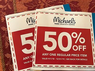 2 Michaels 50% Off Any One Regular Price Item Expires 12/31/2019