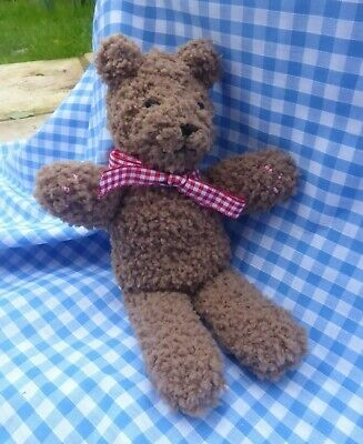 "New Hand Knitted Small Brown Teddy Bear 7"" Made in Quality Soft Baby Fleece"