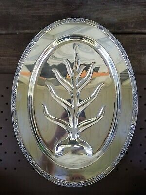 Rogers & Bros 2310 Silver Plate Footed Meat Turkey Cutter Platter Tray with Well