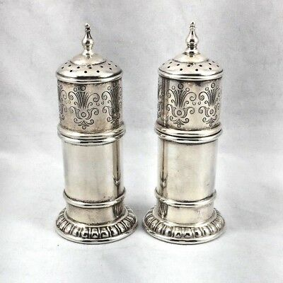Wonderful Decorated Lunt Sterling Large Salt & Pepper Shakers- 3 3/4""