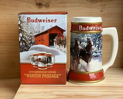 "2019 Budweiser Holiday Stein with Certificate of Authenticity ""Winter Passage"""