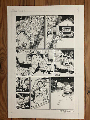 Terry Moore art page signed inked