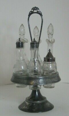Meriden Silver Plate Castor Condiment Six Etched Cruet Bottles Rotates Smoothly