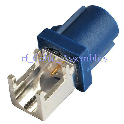 50pcs Fakra C Plug End Launch PCB Mount Right Angle Blue for GPS Telematic