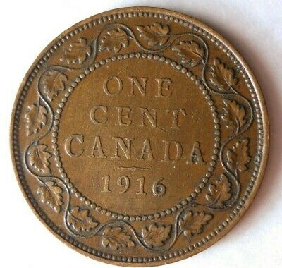 1916 CANADA CENT - AU - Excellent Coin - FREE SHIP - Canada Bin ZZ