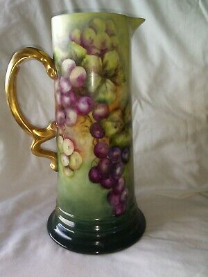 Bavaria Porcelain Hand Painted Grapes Tankard Pitcher