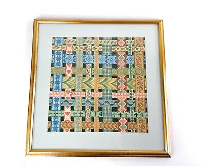 VINTAGE EMBROIDERED Crewel FRAMED WALL ART Woven Ribbons 16x16