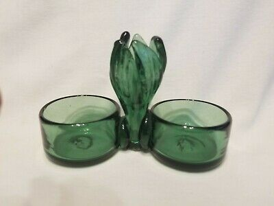 VINTAGE Hand Blown Art Glass EMERALD GREEN Double Open Salt & Pepper Cellar