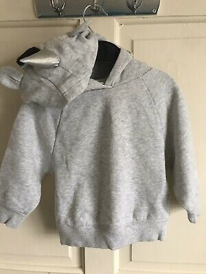 BNWOT Next Fleecy Lined 'Unicorn' Hoodie. Grey. Girls. Age 2 Years.
