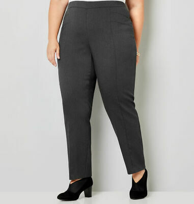 Avenue Super Stretch Straight Leg Pull-On Pant in Gray NWT