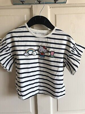 BNWOT Next Short Ruffle Sleeve Top. Girls. Age 2-3 Years. White/ Navy. Cat