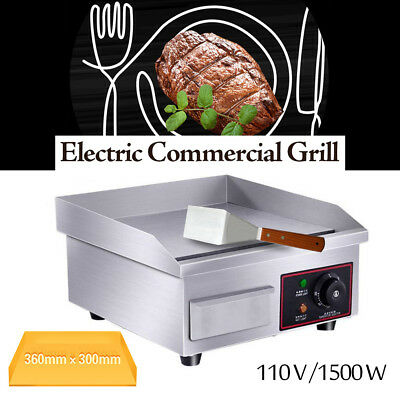 "Electric Griddle Flat Top Grill 1500W 14"" Hot Plate BBQ Countertop Commercial"