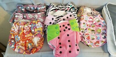 8 Cloth Diapers lot Alva BabyPreowned  infant girl adjustable snaps + 11 insert