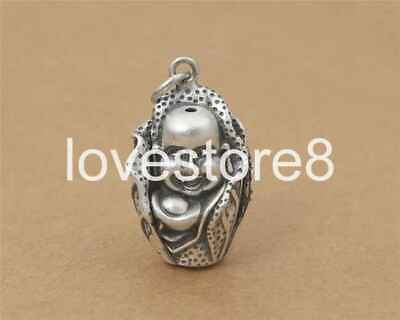 Pure S925 Sterling Silver Retro Fashion Laugh Buddha Chinese Cabbage Pendant
