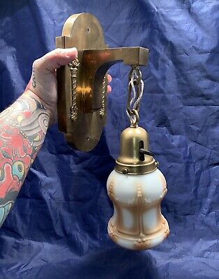 Single Brass Antique Mission Arts & Crafts Wall Sconce Rewired Nice Shade 86E
