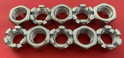 """BOX OF 10  Slotted Hex Castle Nuts 1""""-8 Thread Zinc Plated 1-8 NEW"""