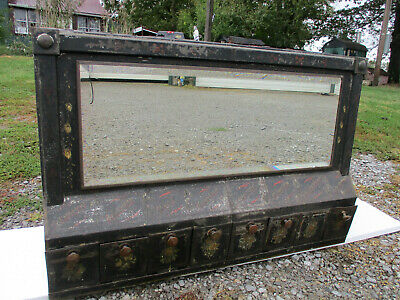 Huge Mid 19Th General Store Tin Spice Display Cabinet Beveled Mirror Orig Tole
