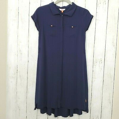Baker Ted Baker Girls Tunic Dress Age 13-14 Navy Blue Flowy Casual Button Front