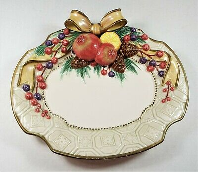Fitz and Floyd Classic Ceramic Winter Spice Canape Plate Now retired