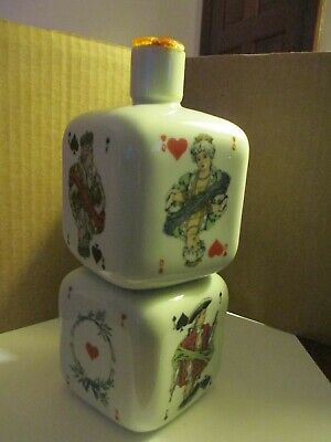 Rare Milk Glass 8 inch Liquor,Bitters,Cure Bottle 1800's Playing CARDS Vintage