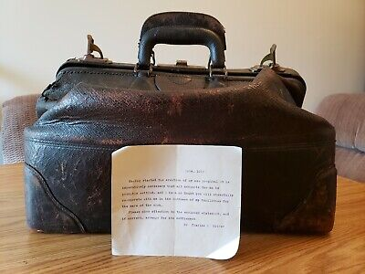 Antique Early 1900's Doctor Medical Cowhide Leather Large Travel House Call Bag