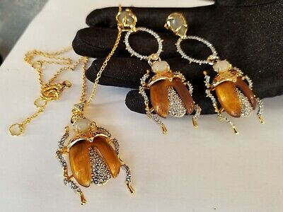 NEW Signed ALEXIS BITTAR EARRINGS Scarab Bug Pendant Gold Tone Chain NECKLACE