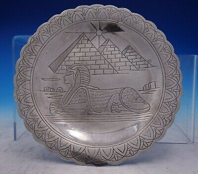 Egyptian .800-.900 Silver Plate with Hand Engraved Pyramid and Sphinx (#3834)