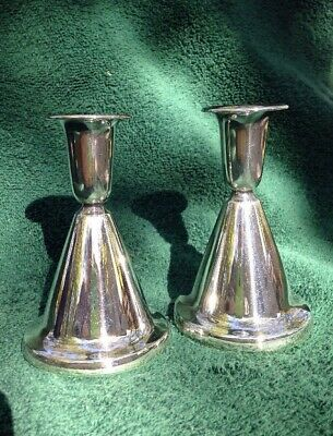Vtg Pair Th. Marthinsen MCM Candle Holders 830 Sterling Norway w/Original Boxes