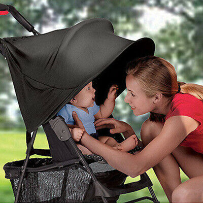 Child Pushchair Stroller Pram Buggy Sun Shade Canopy Cover Universal Black G3H2P