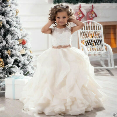 Ruffles Wedding Prom Kids Pageant Baby Princess Flower Girl Dress Party Prom