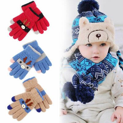 Xmas Elk Knit Thick Magic Mittens Cute Baby Gloves Imitation Kids Baby Gloves AU