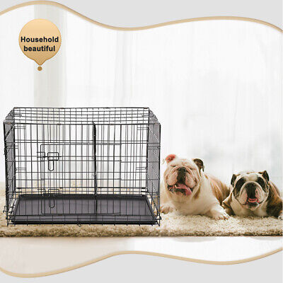 "30"" Pet Kennel Cat Dog Folding Crate Wire Metal Cage W/Divider"