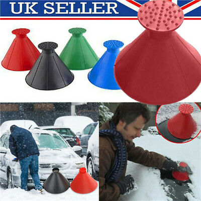 Windshield Magic Car Ice Scraper Tool Cone Shaped Round Funnel Snow Remover UK