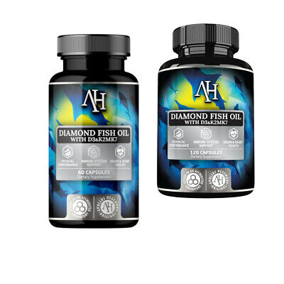 Apollo's Diamond Fish Oil EPA DHA Omega-3 Vitamin D3 Vitamin K2 Vitamin E 60/120