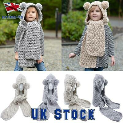 Kids Girls Boys Winter Hat Toddler Knitted Hood Scarf Beanies Earflap Skull Cap